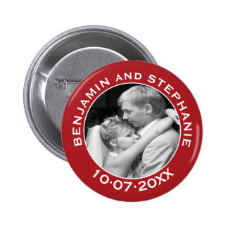 Wedding First Christmas Photo Custom Name and Year 6 Cm Round Badge