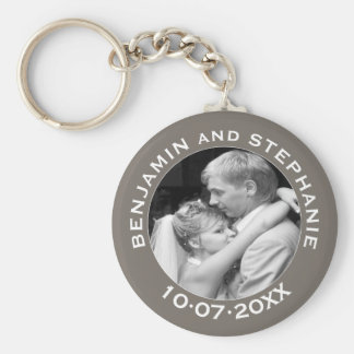 Wedding First Christmas Photo Custom Name and Year Basic Round Button Key Ring