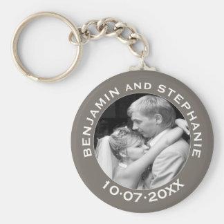 Wedding First Christmas Photo Custom Name and Year Key Ring