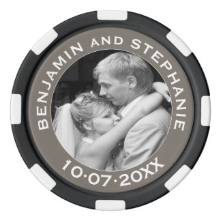 Wedding First Christmas Photo Custom Name and Year Poker Chips