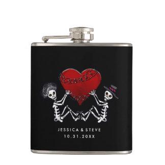 Wedding Flask - Skeletons with Heart