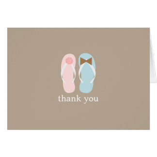 Wedding Flip Flops Folded Thank You Notes Note Card