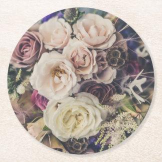 Wedding Floral Bouquet Round Paper Coaster