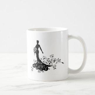 Wedding Flowers Bride Silhouette Pattern Coffee Mug
