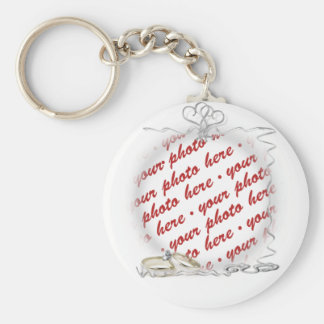 Wedding Frame with Rings & Ribbons Basic Round Button Key Ring