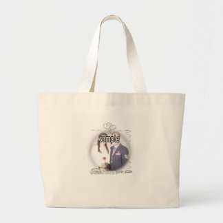 Wedding Frame with Rings & Ribbons Jumbo Tote Bag