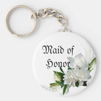 Wedding Gardenias Basic Round Button Key Ring