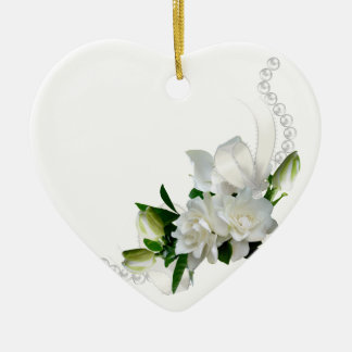 Wedding Gardenias Ceramic Heart Decoration