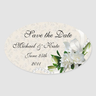 Wedding Gardenias Oval Sticker