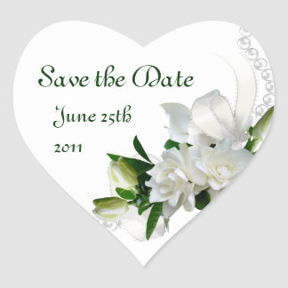 Wedding Gardenias Heart Sticker