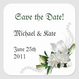 Wedding Gardenias Square Sticker