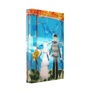 Wedding Gift- Mosaic Bride and Groom Stretched Canvas Prints