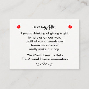 Wedding Gift Request Charitable Donation Business Card