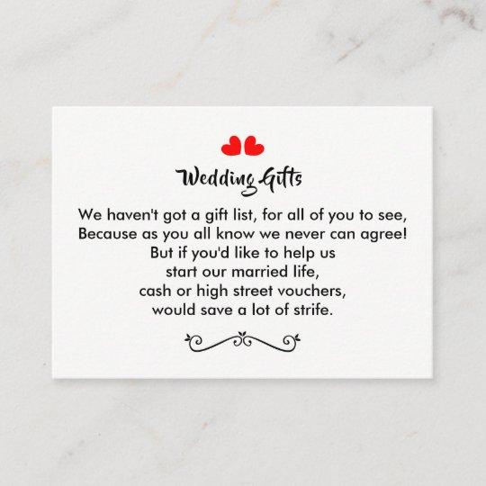 Wedding Gift Request Money Personalised Discount Card