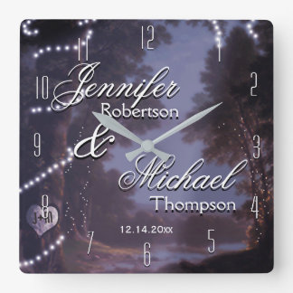 Wedding Gift Rustic Country Square Wall Clock