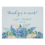 Wedding Gift Table Sign Watercolor Blue Hydrangeas
