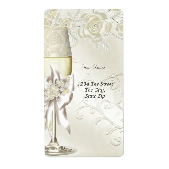 Wedding Gold Cream Pearl Floral Roses Shipping Label
