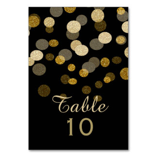 Wedding Gold Faux Glitter Dots Table Cards