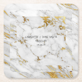 Wedding Gold Marble Gray  Square Coasters