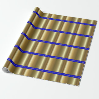 Wedding Gold on Blue Stripe Wrapping Paper