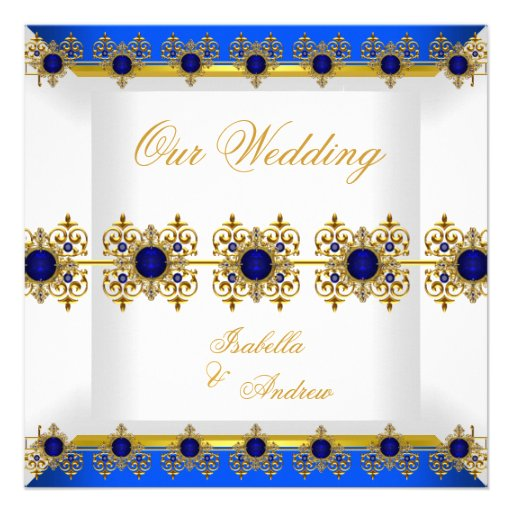 Wedding Gold Royal Blue Gem White Personalized Announcements