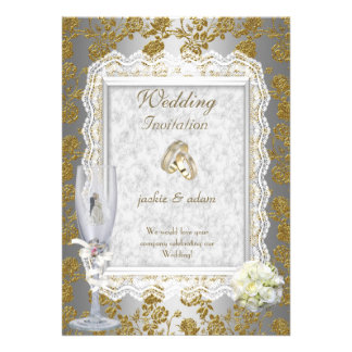 Wedding Gold White Antique Lace Floral Rings Invitations