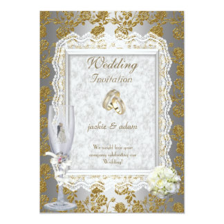 Wedding Gold  White Antique Lace Floral Rings 5x7 Paper Invitation Card