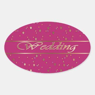 Wedding Golden Stars on Pink Magenta Oval Sticker
