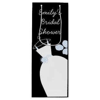 Wedding Gown Blue Bridal Shower black wine Wine Gift Bag