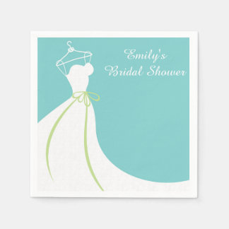 Wedding Gown, Blue, Bridal Shower Disposable Napkins