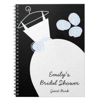 Wedding Gown Blue 'Bridal Shower' notebook black