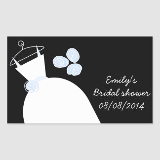Wedding Gown Blue Bridal Shower rectangle black Rectangular Sticker