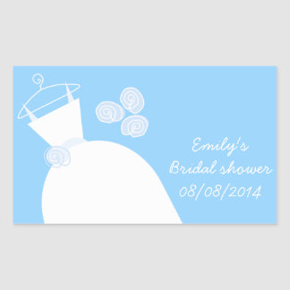 Wedding Gown Blue 'Bridal Shower' rectangle Rectangular Sticker