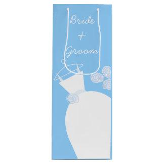 Wedding Gown Blue Bride and Groom wine Wine Gift Bag
