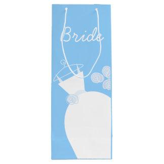 Wedding Gown Blue Bride wine Wine Gift Bag