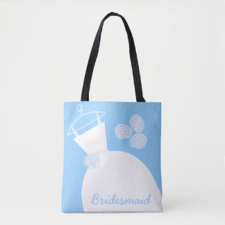 Wedding Gown Blue Bridesmaid all over Tote Bag