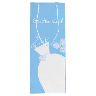 Wedding Gown Blue Bridesmaid wine Wine Gift Bag