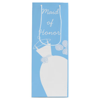 Wedding Gown Blue Maid of Honor wine Wine Gift Bag