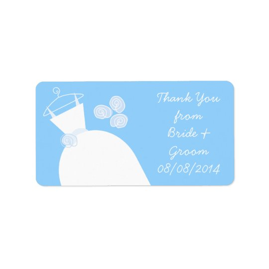 Wedding Gown Blue 'Thank You' medium Address Label