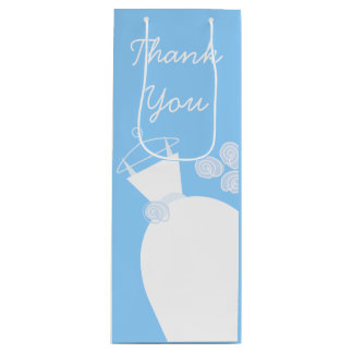 Wedding Gown Blue Thank You wine Wine Gift Bag