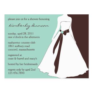 Wedding Gown Bridal Shower Invite Postcard
