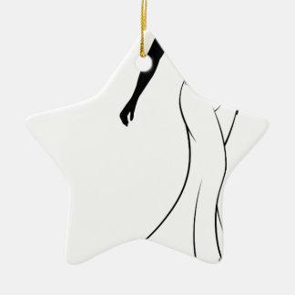 Wedding Gown Bride Silhouette Ceramic Star Decoration