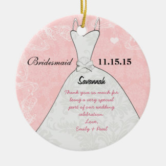 Wedding Gown Bridesmaid Choose Background Color Christmas Ornament