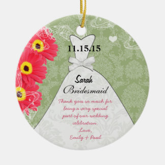 Wedding Gown Bridesmaid Gerber Daisy Choose Color Christmas Ornament