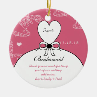 Wedding Gown Bridesmaid Wedding- You Choose Color Christmas Ornament