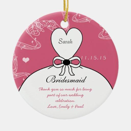 Wedding Gown Bridesmaid Wedding- You Choose Color Christmas Ornament
