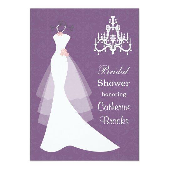 Wedding gown, Chandelier on purple Bridal shower Card