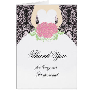 Wedding gown, damask, flowers Wedding Thank you Card