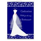 Wedding gown, damask on royal blue  Bridesmaid Card