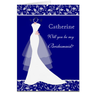 Wedding gown, damask on royal blue  Bridesmaid Card